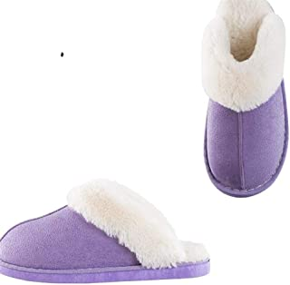 Winter Cotton Slippers at Home Men's Warm Thick Bottom Non-Slip Indoor Bag with Simple Cotton Slippers Warmer Soft Plush Home Shoes (Color : Purple, Size : 44-45)