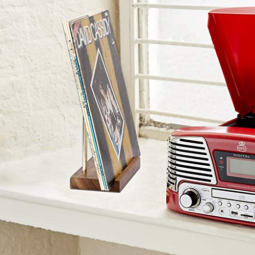 simesove Tabletop Vinyl Record Holder,Now Playing Vinyl Record Stand,Minimalist Design Walnut Non-Slip Record Cover Display