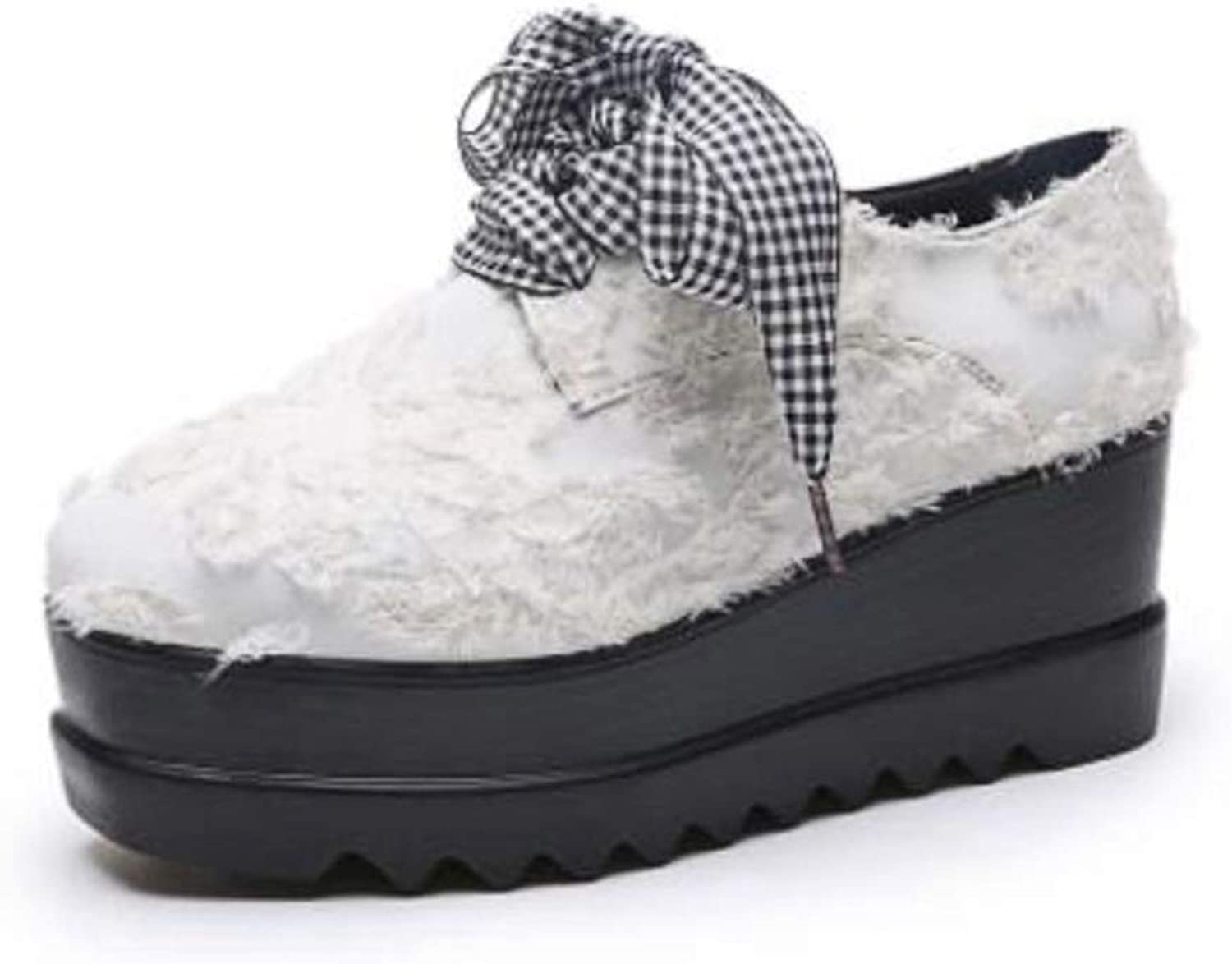 U-MAC Women Thick Soled Flats Round Toe Platform Wedge Sneakers Hidden Heels Lace-up Casual Elevator shoes