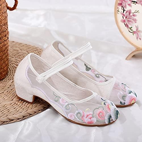 LGYKUMEG Zapatos Bordados Florales Chinos Vintage, Zapatos Planos De Baile para Mujer, Suaves, Transpirables, Ligeros, Suela De Tendón Antideslizante,Blanco,EU39