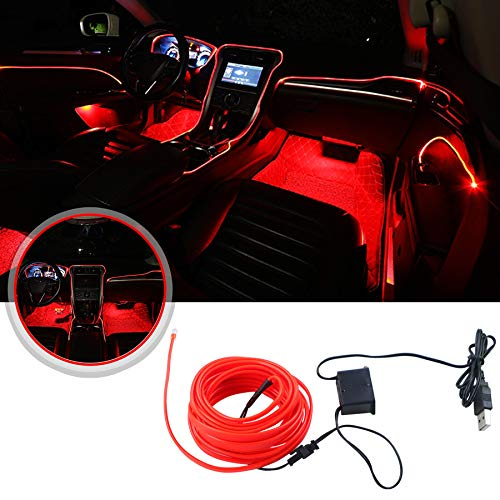 Eulifeled USB 5 V LED 5 m flexible Soft Tube Wire Lights USB Neon EL alambre luminoso, decoración del coche, tira de fibra de vidrio, luz de 360 grados de iluminación (rojo)