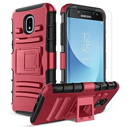 Tmacker Samsung Galaxy J3 2018 Case,Galaxy J3 Star/J3 Orbit/J3 VJ3 Achieve/J3 Top/Sol 3 Phone Case,Shockproof Protective Phone Cover,PC Red