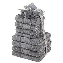 Dreamscene Juego de Toallas de Lujo, algodón 100% Suave para Cara y Manos, 12 Unidades de Color Gris para Manos, Cara y baño