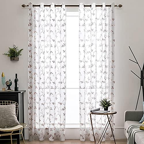 MIULEE 2 paneler blommiga löv broderi skira gardiner öljett fönstergardin halvvoile-gardiner paneler för vardagsrum sovrum kaffe 145 cm B x 145 cm L