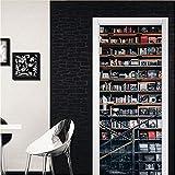 Pegatina de puerta 3D Pegatinas de puerta Creativo 2 Unids/set Biblioteca Patrón de bricolaje casero Decoración de arte Sala de pared Sala de estar Decoración de puerta de casa Decoración
