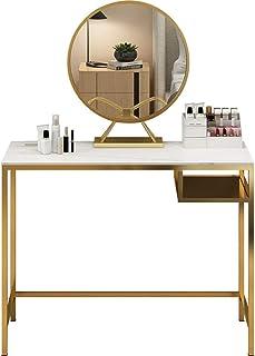 Coiffeuse Iron Set Vanity for Les Femmes Filles avec Rangement Organisateur Miroir, Coiffeuse avec Cushioned Tabouret Coif...