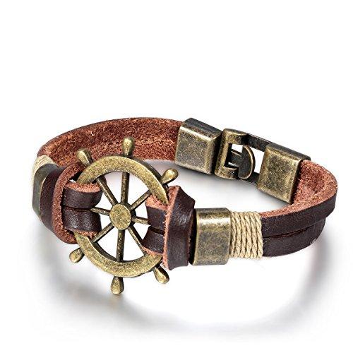 JewelryWe Schmuck Unisex Armband, Retro Pirate Ruder Tribal Leder Armreif, für Damen Herren, Braun, mit Geschenk Tüte