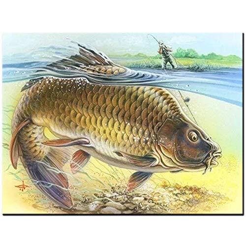 HWADMW Carpa diamante pintura punto de cruz pinturas de pared taladro completo o redondo bordado de diamantes gráfico de peces animal decoración del hogar arte-30 * 40cm