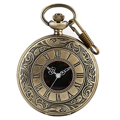 Orologio da taschino vintage, con numeri romani, in acciaio, con catena e numeri romani, stile steampunk, per compleanno, anniversario, Natale, festa del papà