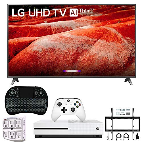 LG 86UM8070 86' 4K HDR Smart LED IPS TV w/AI ThinQ 2019 Model (LG86UM8070PUA 86UM8070PUA 86UM8070P) with Xbox One S 1TB, Wireless Backlit Keyboard, Flat Wall Mount Kit & SurgePro 6-Outlet Surge Ad