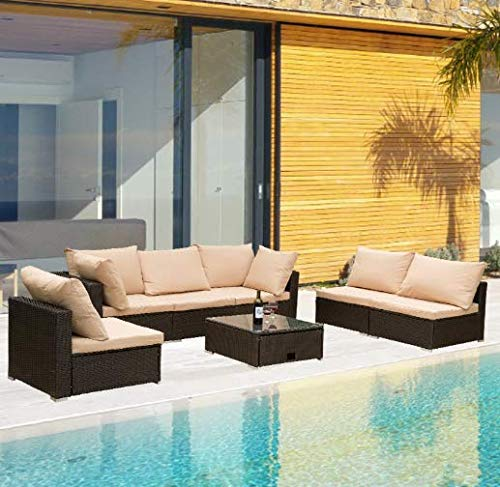 ROSMARUS 7 Pieces Patio Furniture Sets All-Weather Outdoor Sectional Sofa Manual Weaving Wicker Rattan Patio Conversation Set with Cushion and Glass Table