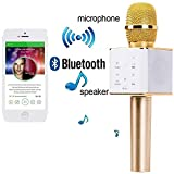 Handheld Wireless Microphone Mic With Audio Recording Bluetooth Speaker & Karaoke Feature For