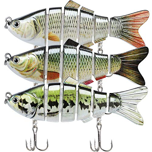 Fishing Lures for Bass 3.9' Multi Jointed Swimbaits Slow Sinking Hard Lure Fishing Tackle Kits Lifelike