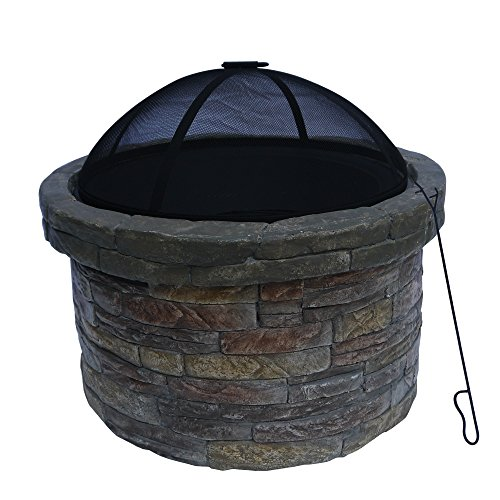 """Peaktop HR22818AA Stone Wood Burning Fire Pit with Cover Outdoor Garden Round, 26.6"""", Dark Gray"""
