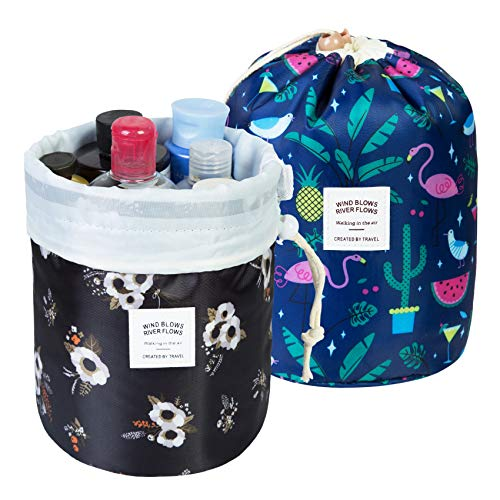 2 Pack Makeup Bags For Women Waterproof Cosmetic Bags Multifunctional Bucket Toiletry Bag Travel Organizer Bag Toiletries Soft Collapsible Portable Drawstring Makeup Bag