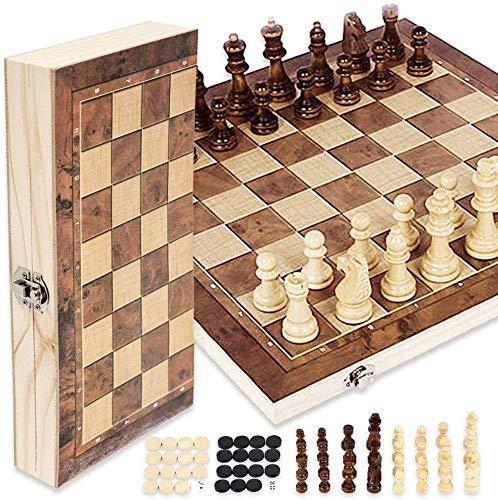 harupink Juego de ajedrez 3 en 1 de madera, plegable, para viajes, juegos de mesa, juguetes educativos para adultos y niños (34 x 34 cm)