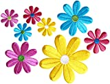 Simplicity Multicolor Daisy Flowers Applique Clothing Iron On Patches, 8pc, Sizes Vary