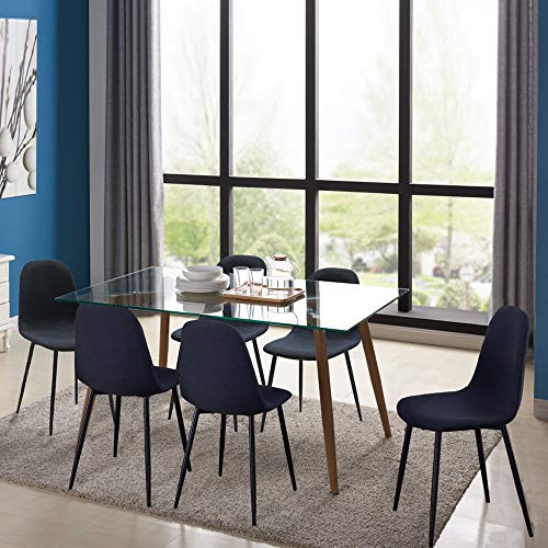 IDS Home Mid Century Clear Glass Dining Room Table Furniture Set for 4/6, Fabric Chairs with Sturdy Metal Leg (7 Pieces Set, Black)