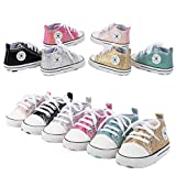 VARWANEO Baby Shoes Sequined Canvas Shoes Baby Newborn Soft-Soled Toddler Shoes Black