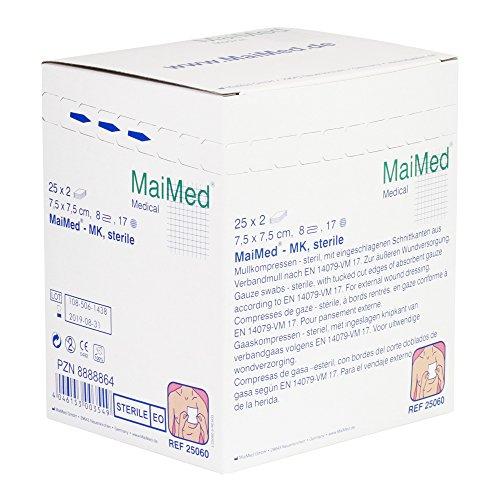 Maimed - sterile Mullkompressen - weiß - 7,5 x 7,5 cm - 50 Stück