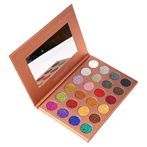 SEPROFE Eyeshadow Palette24 Colors Glitter Eyeshadow Palette Shimmer Ultra Pigmented Makeup Eye Shadow Powder Long Lasting Waterproof Neutral Eyeshadow Makeup Kits
