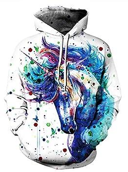 Ainuno Unicorn Hoodie for Women Teen Girls Pullover Sweatshirt Funny Hooded Sweater,Paint Unicorn,S/M