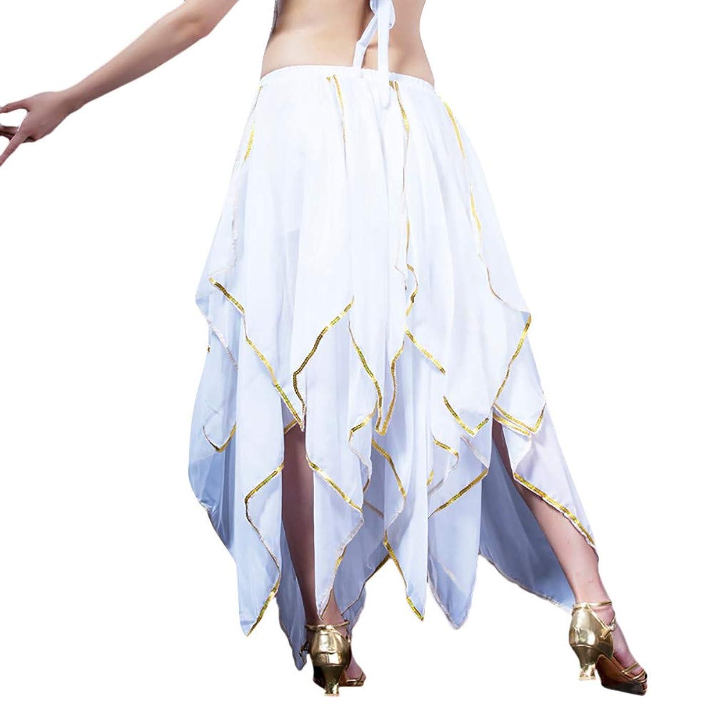 Women Dance Performance Skirt prom Sequin Side Split Skirt Chiffon Belly Skirt