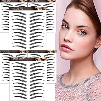 Aresvns Eyebrow Tattoo Stickers 66 Pairs,4D Fake Eyebrows,Newly Improved Black Tattoo Eyebrow for Women,Good Looking Brow Tattoo Waterproof and Long-Lasting 3-5 Days,Eyebrow Transfers