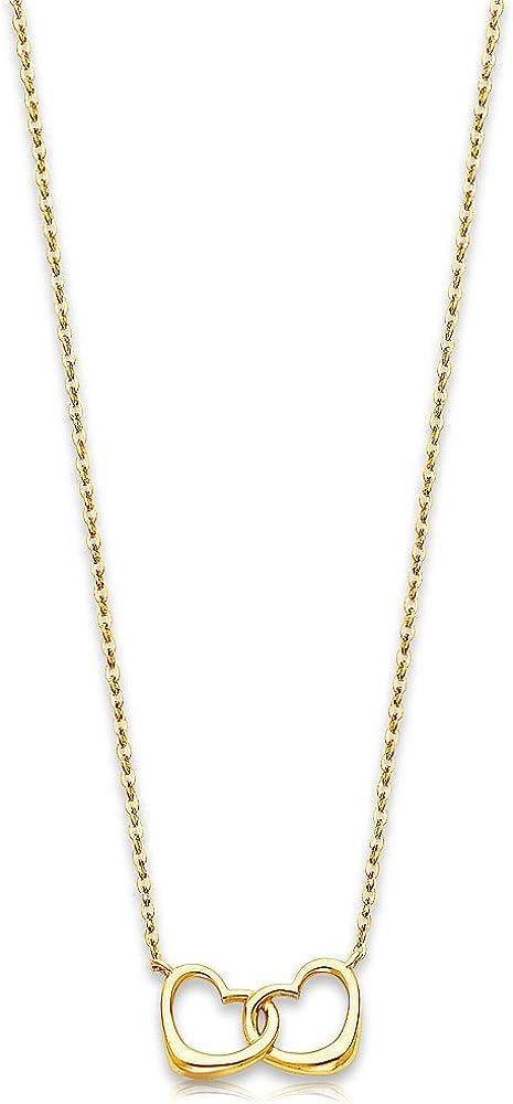 Sonia Jewels 14k Yellow Gold Interlocking Double Heart Pendant Charm Necklace - 17
