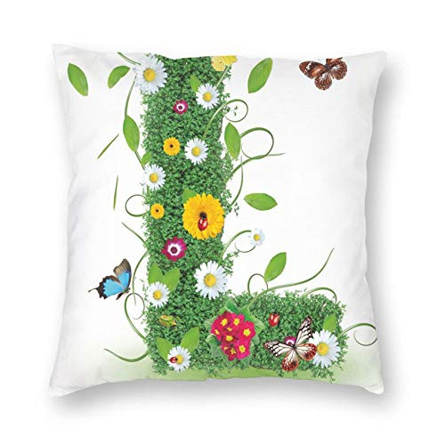 Decorative Cushion Covers with Alphabet Capital L Design Daisies Wildflowers Other Plant Life Animal Fun,for Sofa Office Decor Cotton and Linen Cushion Covers 18*18Inch