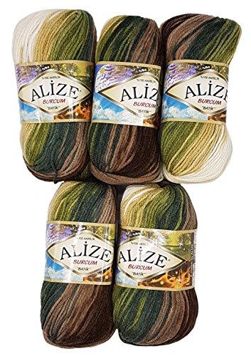 Alize Burcum Batik 5 x 100 Gramm Wolle Mehrfarbig mit Farbverlauf, 500 Gramm Strickwolle (braun beige Creme u.a. 1893)