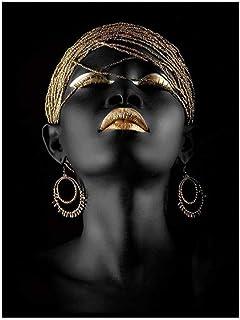 ZSHDBF Impressions sur Toile Peintures Murales d'art Décor,Impression HD Poster/Noir Africain Femme Photo Suspendu pour Un...