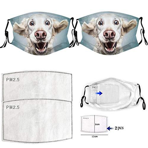 Jamicy 2 Stück Atmungsaktiv Gesichtsbedeckung waschbar mundschutz mit 2 Filter,mundschutz mit Motiv Baumwolle wiederverwendbar mundschutz für Erwachsene zum Laufen, Radfahren