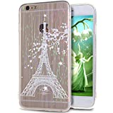 For iPhone 6S/6 Plus,iPhone 6S Plus Case,iPhone 6S Plus TPU Case,NSSTAR Plum Blossom Eiffel Tower Inside Glitter Diamond Rainbow Clear TPU Soft Silicone Design Case Cover for iPhone 6S/6 Plus 5.5',A4