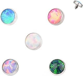 5PCS G23 Titanium 16G Micro Dermal Anchor Top Internal Thread Flower Opal Lip Ear Piercings Studs