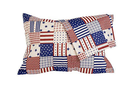 2 Patriotic Pillowcases, USA Flag Pillow Covers for Toddler/Travel Pillows