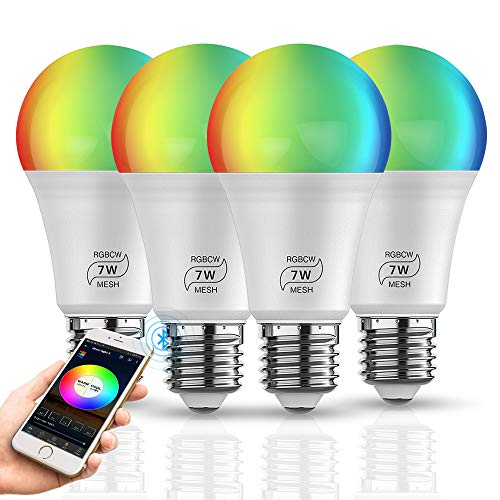 Smart LED Lampe Bluetooth Mesh RGBCW E27 Dimmable LED Birne 7W Farbige Leuchtmittel APP, Musik & Mic Innenbeleuchtung Gruppensteuerung, Timer Funktion (4 Pack)