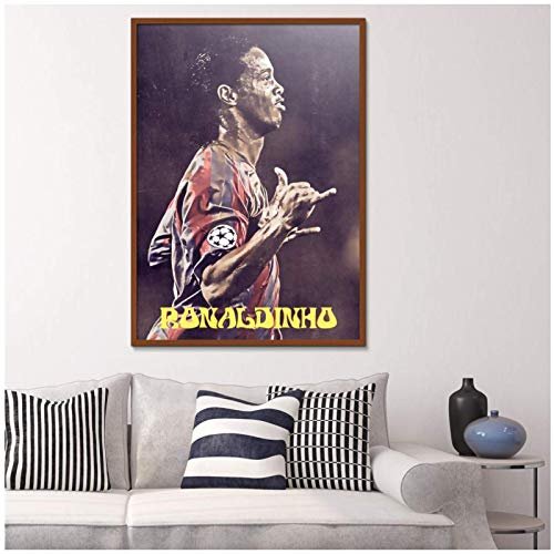 Mural Ronaldinho Fußball Motion Figure Gemälde Druck Leinwand Leinwand Wasserdichte Poster Air Brush-24X36In No Frame