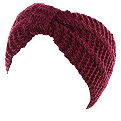 Burgundy knit headband to wear during sweater weather, fall, and winter.