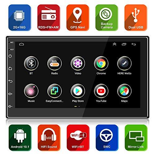 ANKEWAY 7 Pulgadas Radio de Coche 2 DIN Android 10,1 [2G+16G] Versión, FM/RDS Radio Coche Bluetooth con HiFi/WiFi/Navegación GPS, 1080P HD IPS Sistema Multimedia Internet del Coche de Pantalla Táctil