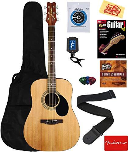 Jasmine S35 Acoustic Guitar - Natural Bundle with Gig Bag, Strings, Tuner, Strap, Picks, Instructional Book, DVD, and Austin Bazaar Polishing Cloth