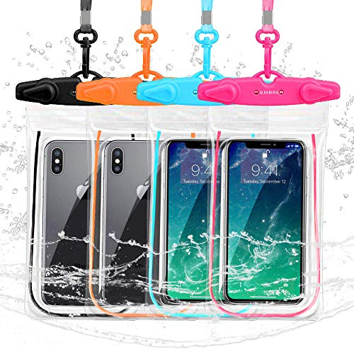 GLBSUNION Universal Waterproof Case, IPX8 Cell Phone Dry Bag/Pouch Compatible for iPhone 11 Pro Xs Max XR X 8 7 Galaxy S10 LG up to 6.9