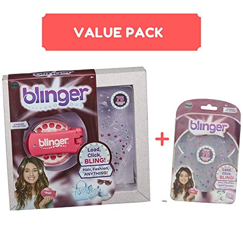 Blinger Diamond Styler Bundle with Refill Pack - Comes with Glam Styling Tool & 75 Gems - Load, Click, Hair, Fashion, Anything!