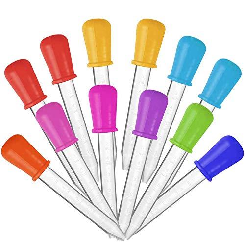 JEZOMONY Goteros líquidos de 12 Piezas, Cuentagotas de Silicona y plástico con Escala, cuentagotas Coloridos de 5 ml de Grado alimenticio, gotero para aceites Esenciales Kids Science Gummy Making