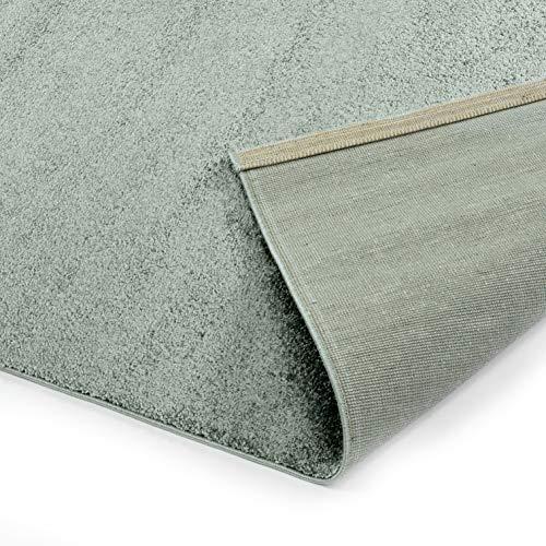 Designer-Teppich Pastell Kollektion | Flauschige Flachflor Teppiche fürs Wohnzimmer, Esszimmer, Schlafzimmer oder Kinderzimmer | Einfarbig, Schadstoffgeprüft (Mint Grün, 140 x 200 cm)