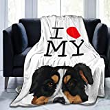 Marrtly I Love My Black Aussie Australian Shepherd Dog Throw Blanket Lightweight Flannel Fleece Blanket for Couch Bed Sofa Travelling Camping 60'X50' for Teens