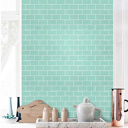 SHINGONE 3D selbstklebende Fliesenaufkleber Wasserdicht für Badezimmer-, Küchenfliesenaufkleber Peel and Stick Wandfliesenaufkleber Backsplash, grüne Fliesenaufkleber 30.5 x 30.5cm (4 Blatt)