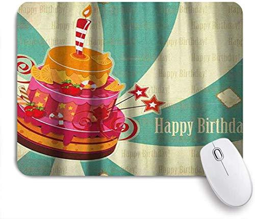 Benutzerdefiniertes Büro Mauspad,Geburtstags-köstliche große Kuchen-Feier-reife Frucht-Bonbons auf gewirbeltem Weinlese-Hintergrund,Anti-slip Rubber Base Gaming Mouse Pad Mat