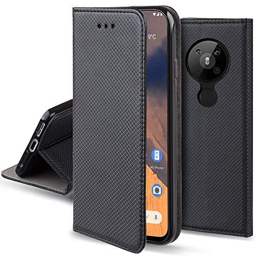 Moozy Hülle Flip Hülle für Nokia 5.3, Schwarz - Dünne Magnetische Klapphülle Handyhülle mit Kartenfach & Standfunktion