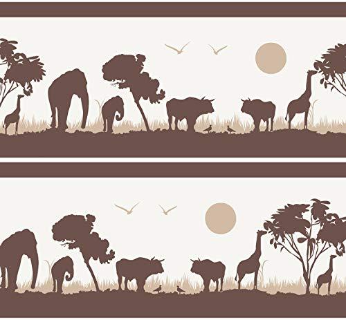 Selbstklebende Bordüre Afrika, 4-teilig 560x15cm, Tapetenbordüre, Wandbordüre, Borte, Wanddeko, braun, beige